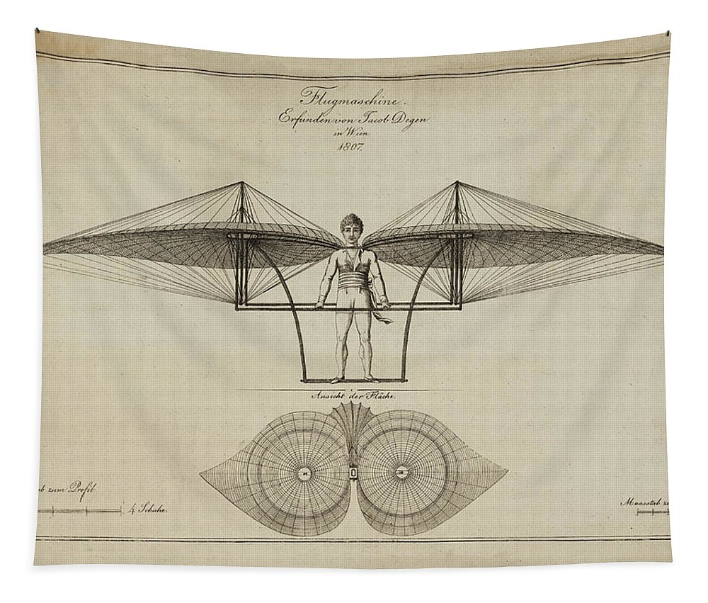 Flugmashine Patent 1807 Tapestry featuring the photograph Flugmashine Patent 1807 by Bill Cannon