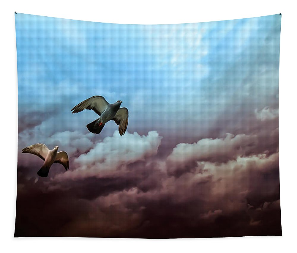 Bird Tapestry featuring the photograph Flying Before The Storm by Bob Orsillo