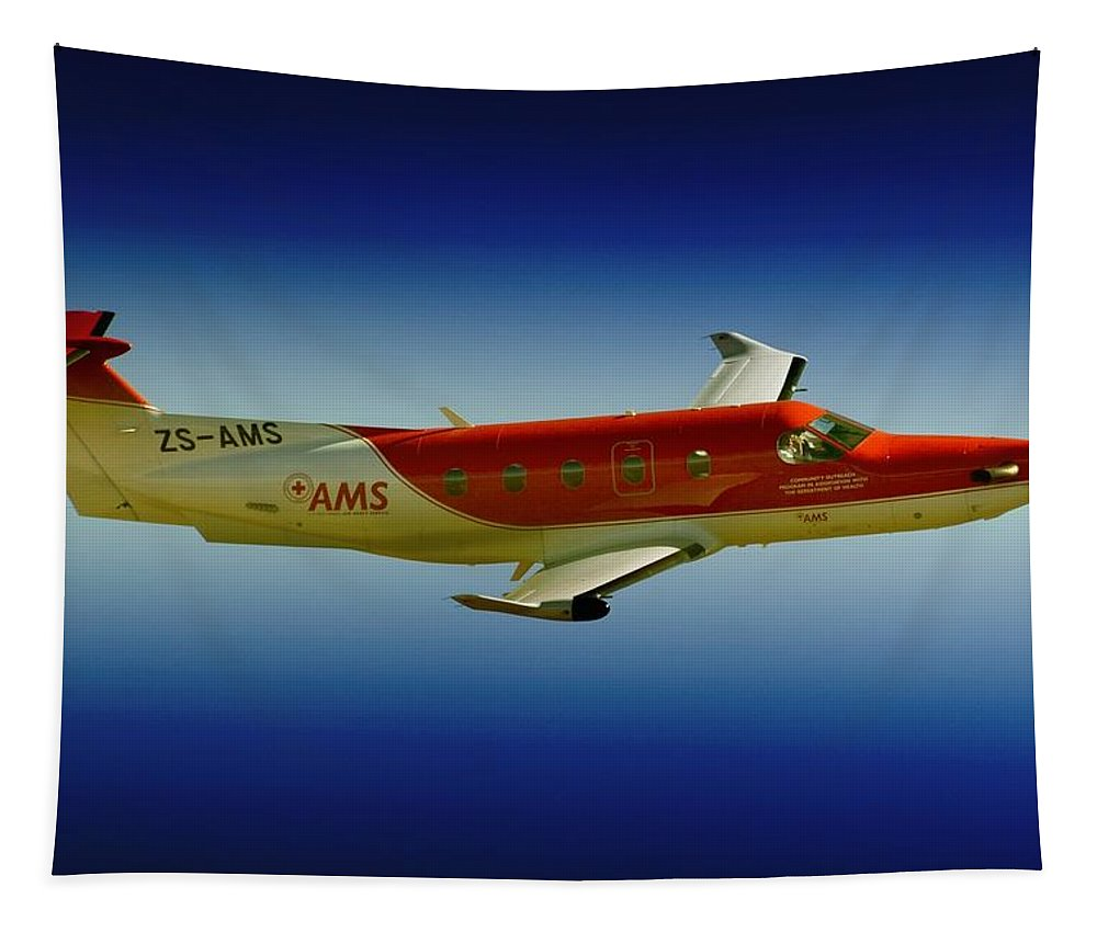 Pilatus Pc 12 Tapestry featuring the photograph Flying by Paul Job