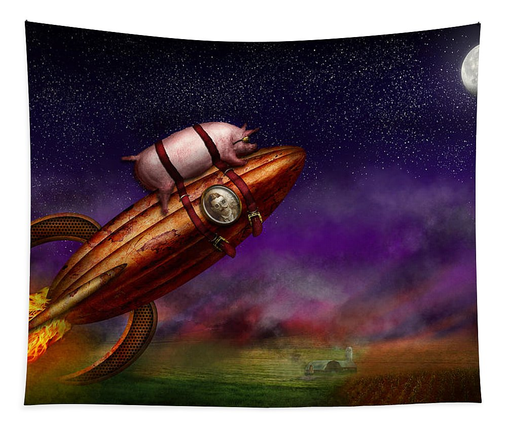 Pig Tapestry featuring the photograph Flying Pig - Rocket - To The Moon Or Bust by Mike Savad