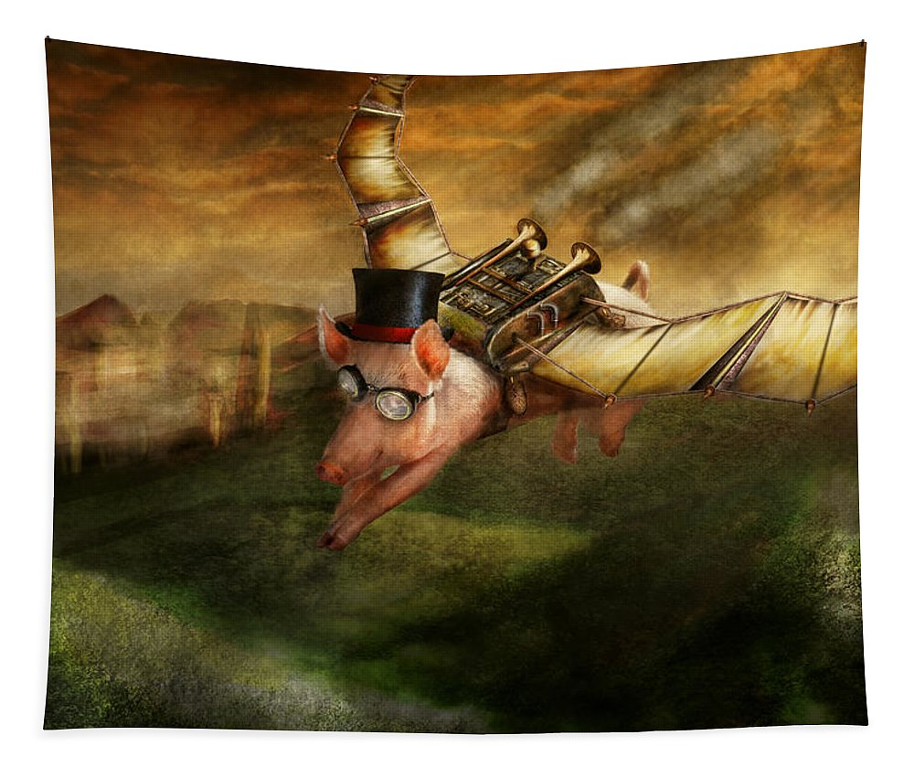 Pig Tapestry featuring the photograph Flying Pig - Steampunk - The Flying Swine by Mike Savad
