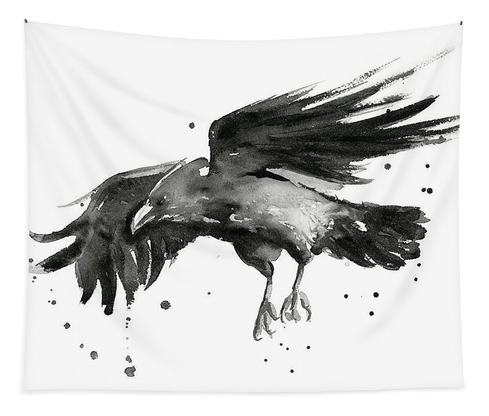 Raven Tapestry featuring the painting Flying Raven Watercolor by Olga Shvartsur