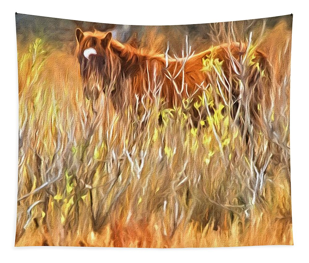 Chincoteague Foal Tapestry featuring the photograph Foal In The Sticks by Alice Gipson
