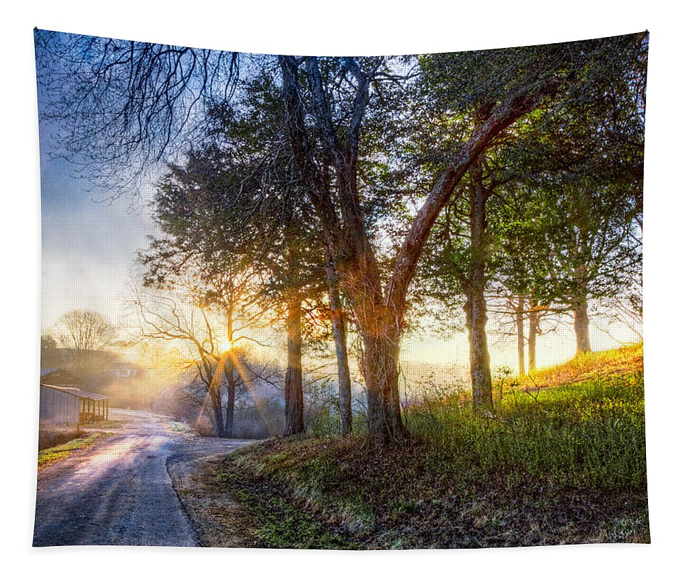Appalachia Tapestry featuring the photograph Fog At The Farm by Debra and Dave Vanderlaan