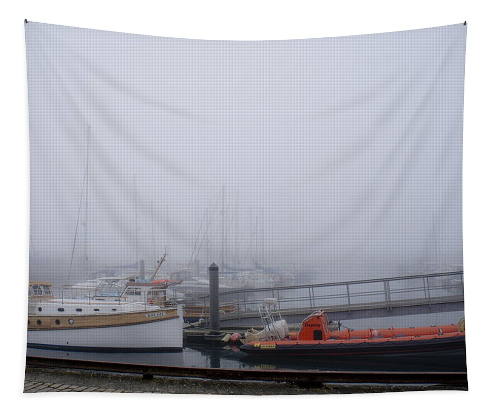 Anstruther Harbour Tapestry featuring the photograph Fog In Marina IIi by Elena Perelman
