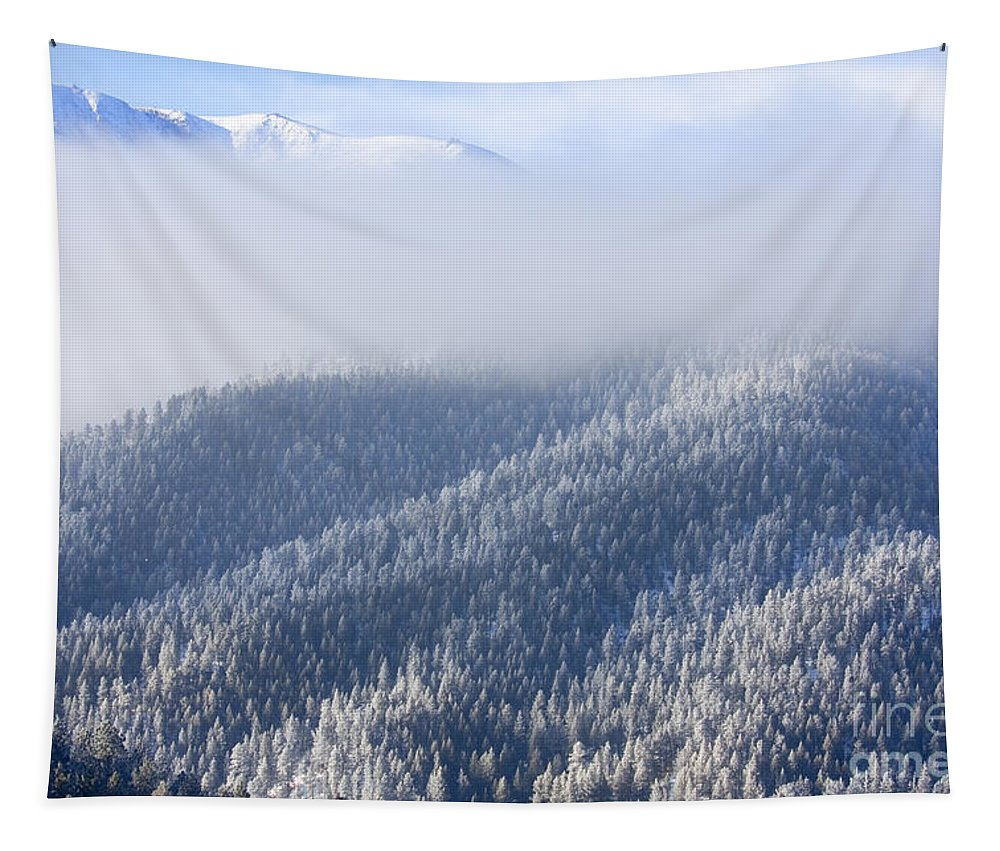 Colorado Tapestry featuring the photograph Foggy Peak by Steve Krull