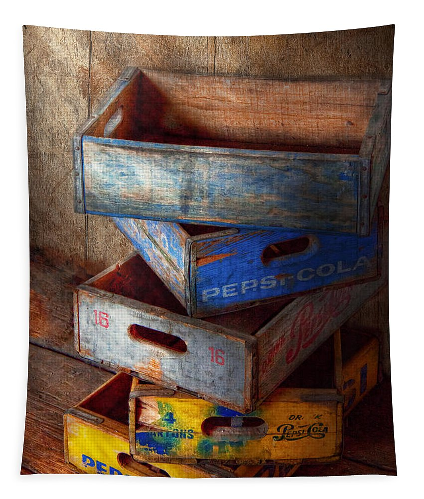 Savad Tapestry featuring the photograph Food - Beverage - Pepsi-cola Boxes by Mike Savad