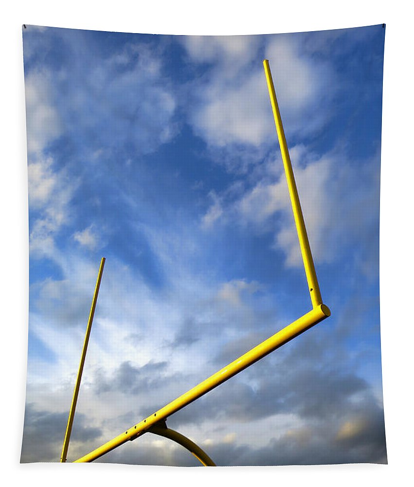 Goal Tapestry featuring the photograph Football Goal Posts by Olivier Le Queinec