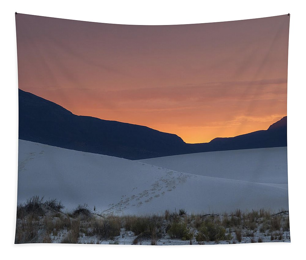 Jean Noren Tapestry featuring the photograph Footsteps In White Sands Leading To Sunset by Jean Noren