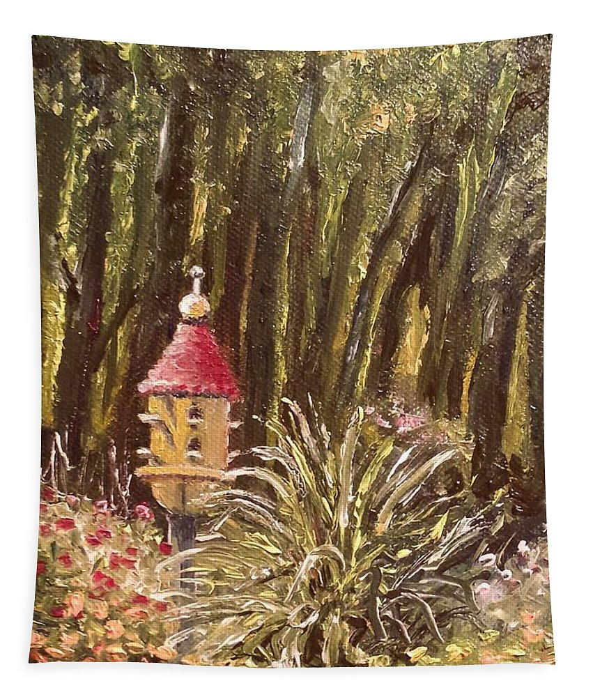 Birdhouse Tapestry featuring the painting For The Birds by Susan Hanna