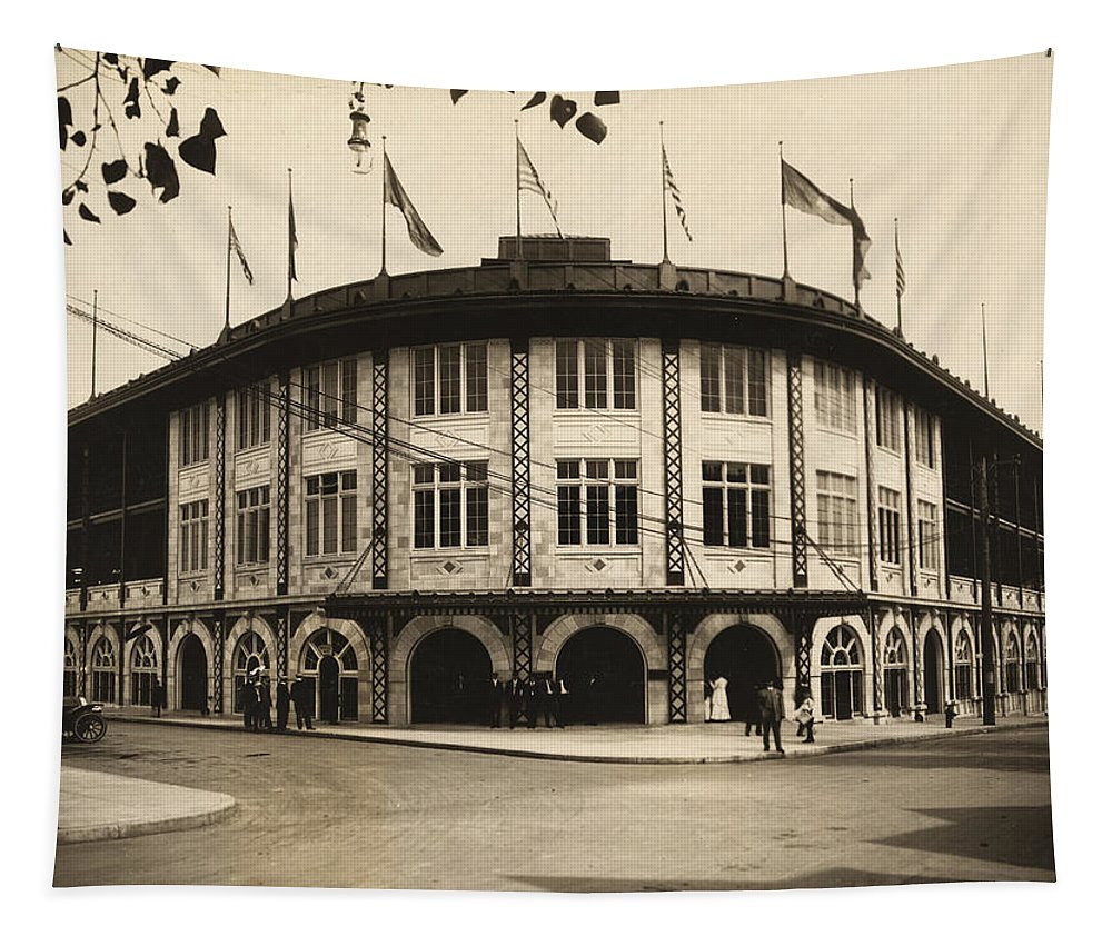 Forbes Field Tapestry featuring the photograph Forbes Field Pittsburgh 1909 by Mountain Dreams