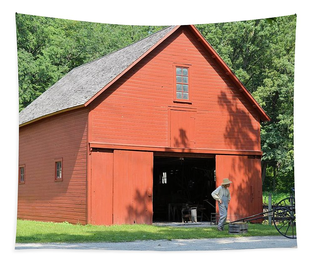 Barn Tapestry featuring the photograph Forestville Horse Barn 7904 by Bonfire Photography