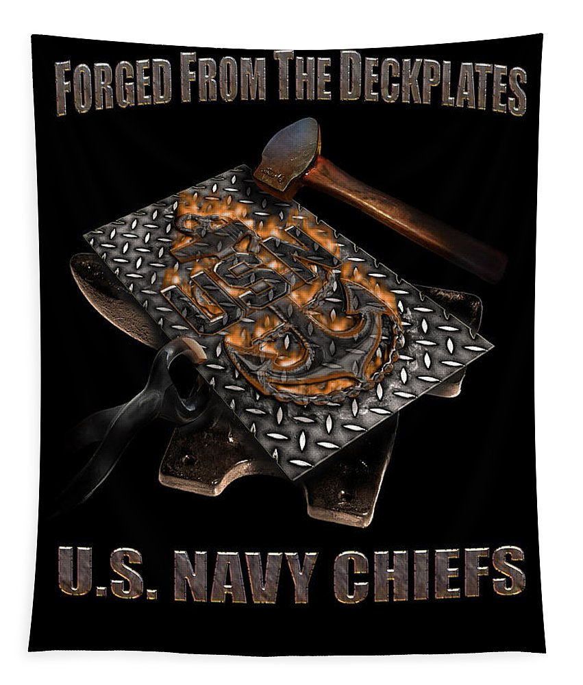 U.s. Navy Tapestry featuring the digital art Forged From The Deckplates by Mountain Dreams