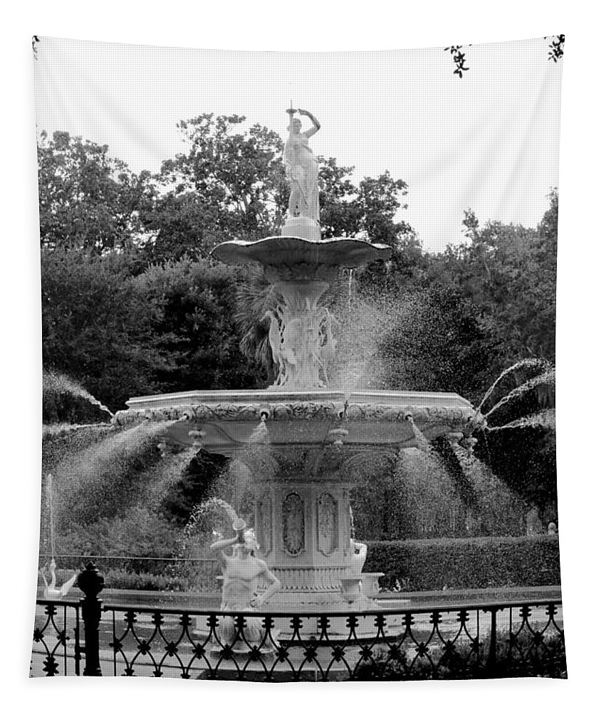 Savannah Tapestry featuring the photograph Forsyth Park Fountain - Black And White 2x3 by Carol Groenen