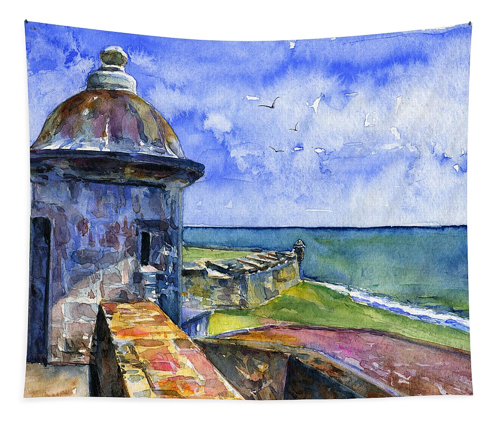 Fort Tapestry featuring the painting Fort San Juan Puerto Rico by John D Benson