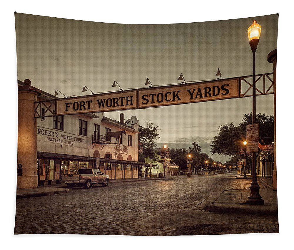 Joan Carroll Tapestry featuring the photograph Fort Worth Stockyards by Joan Carroll