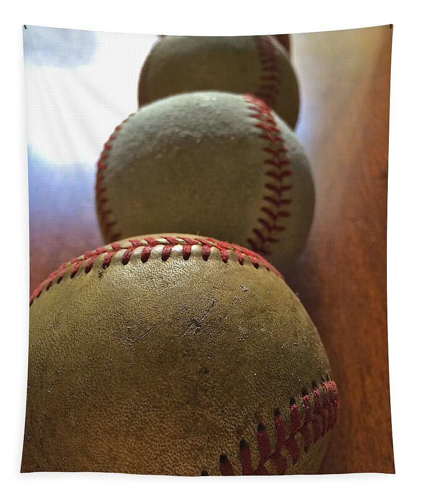 Iphoneography Tapestry featuring the photograph Four Baseballs by Bill Owen