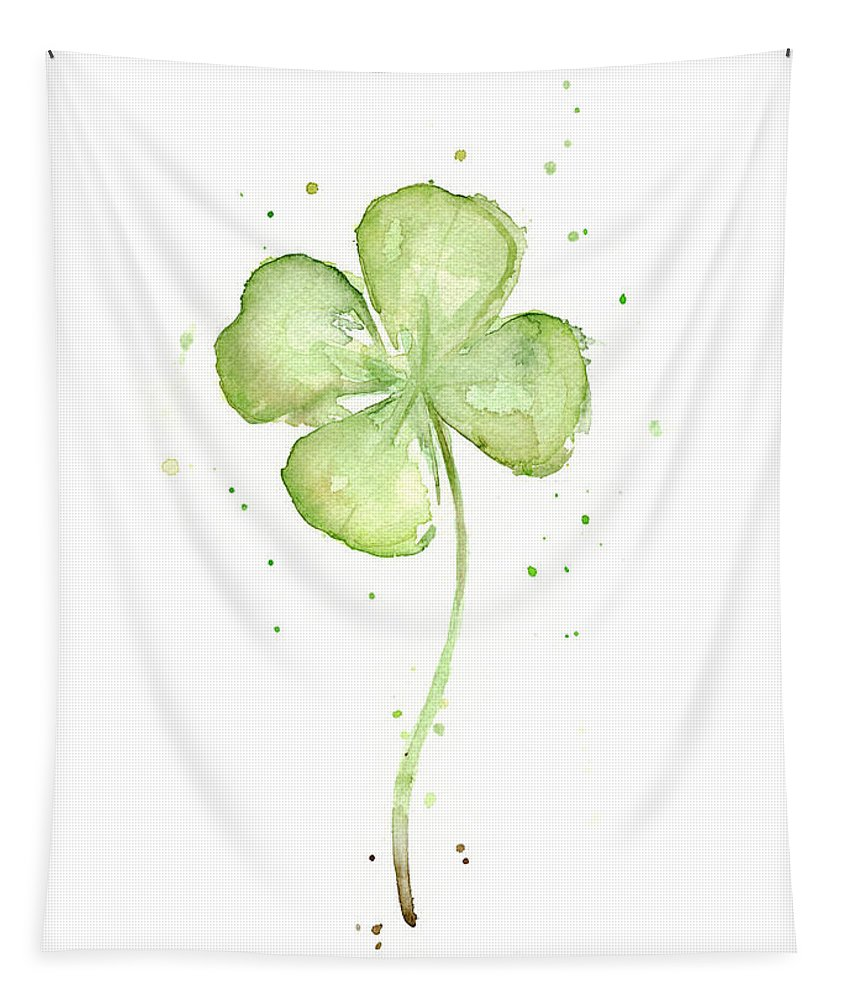 St Patricks Tapestry featuring the painting Four Leaf Clover Lucky Charm by Olga Shvartsur