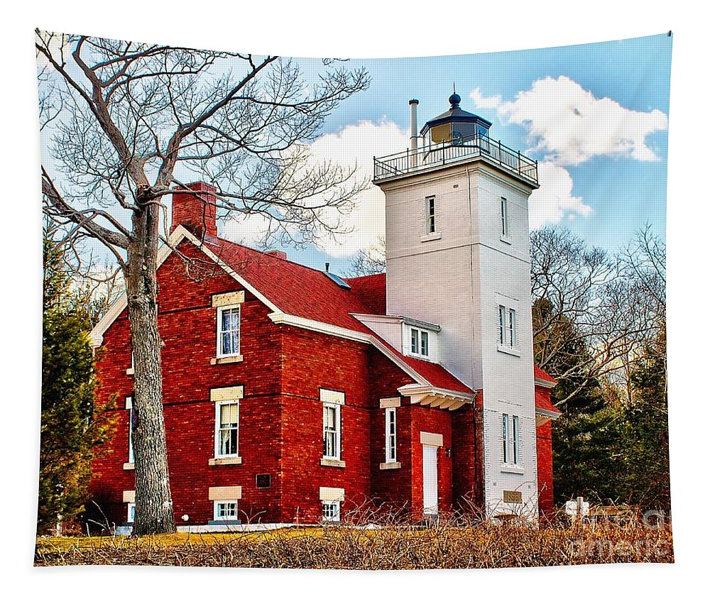Lighthouse Tapestry featuring the photograph Fourty Mile Point Lighthouse by Nick Zelinsky
