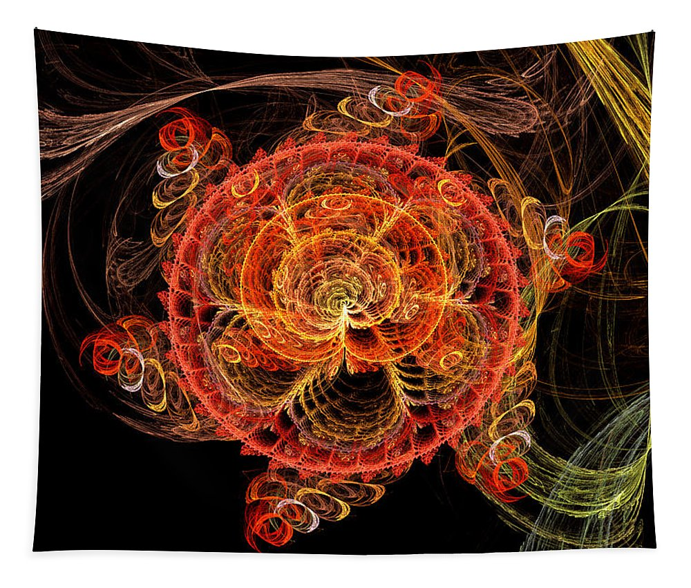 Abstract Tapestry featuring the digital art Fractal - Abstract - Mardi Gras Molecule by Mike Savad