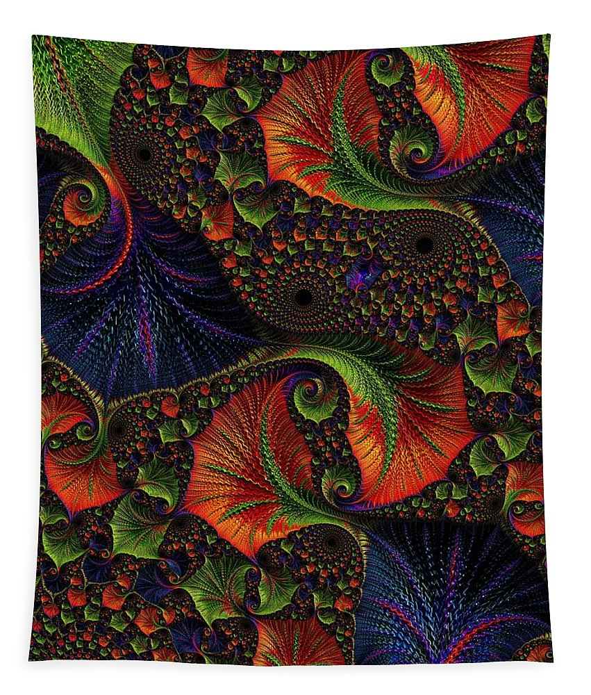 Digital Art Tapestry featuring the digital art Fractal Embroidery by Amanda Moore