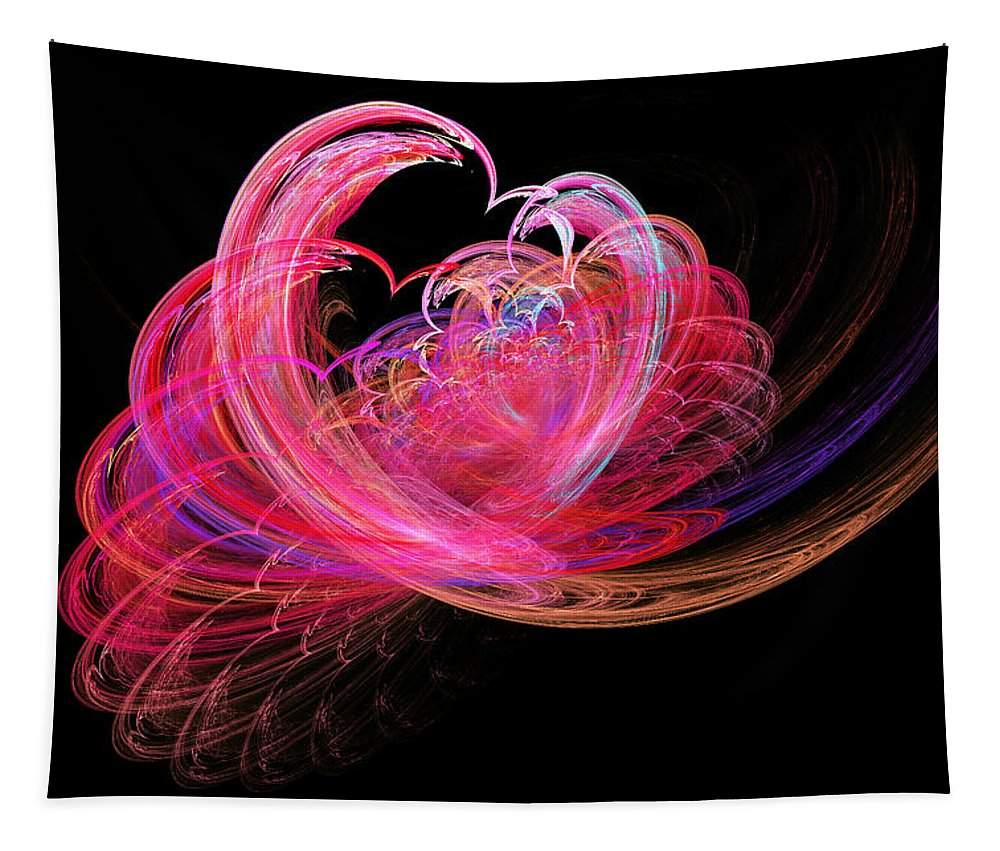 Fractal Tapestry featuring the digital art Fractal - Heart - Lets Be Friends by Mike Savad