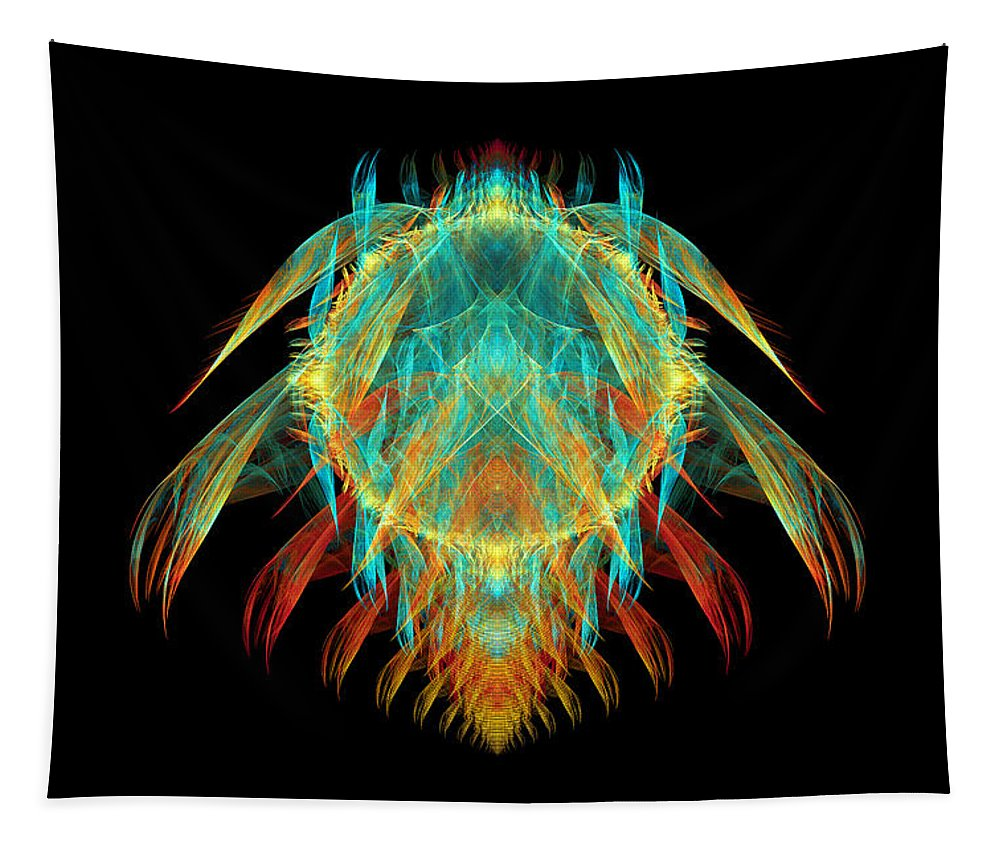 Fractal Tapestry featuring the digital art Fractal - Insect - I Found It In My Cereal by Mike Savad
