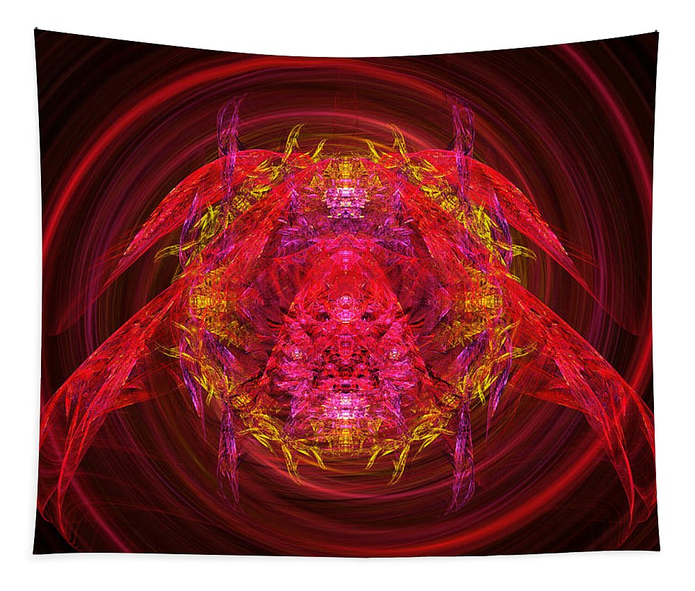 Abstract Tapestry featuring the digital art Fractal - Insect - Jeweled Scarab by Mike Savad