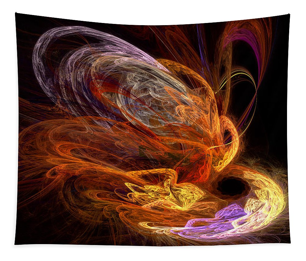 Fractal Tapestry featuring the digital art Fractal - Rise Of The Phoenix by Mike Savad
