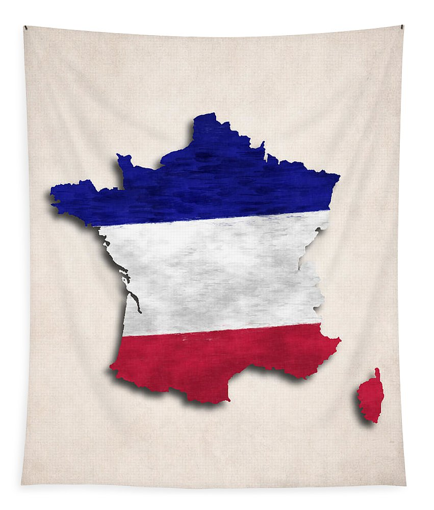 France Tapestry featuring the digital art France Map Art With Flag Design by World Art Prints And Designs