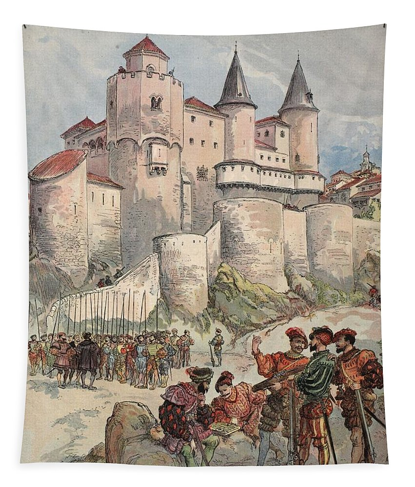 France Tapestry featuring the drawing Francis I Held Prisoner In A Tower by Albert Robida