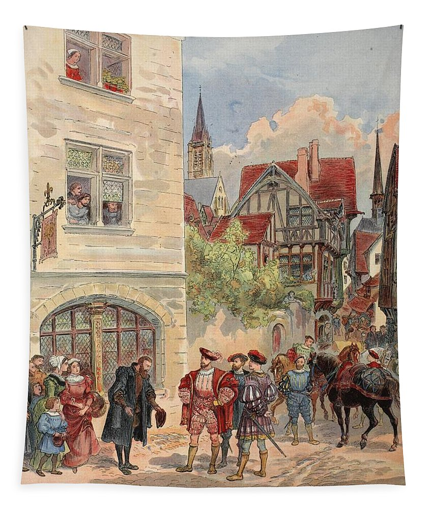 France Tapestry featuring the drawing Francis I Received By Estienne by Albert Robida