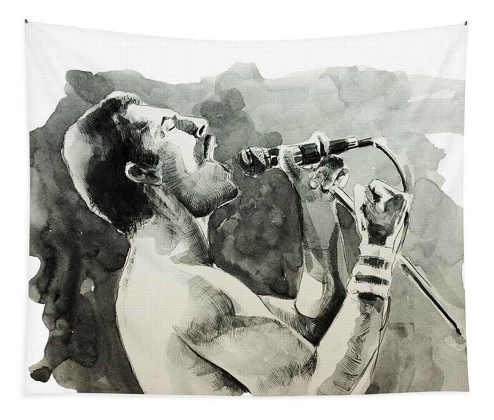Freddie Mercury Tapestry featuring the painting Freddie Mercury 8 by Bekim M