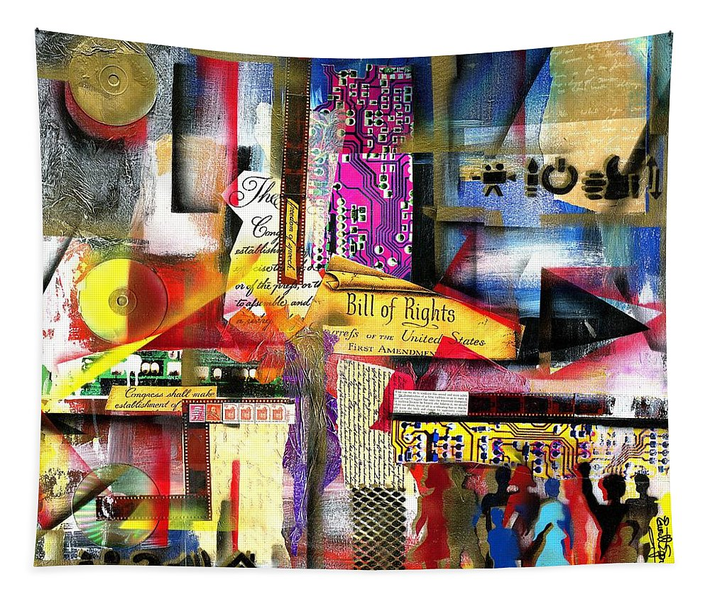 Everett Spruill Tapestry featuring the painting Freedom of Speech 3 by Everett Spruill