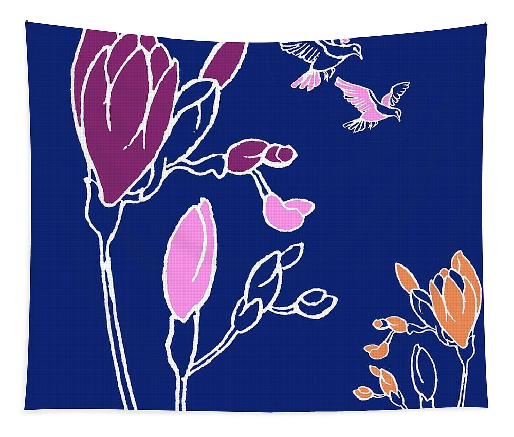 Decorative Tapestry featuring the painting Freesia by Anna Platts