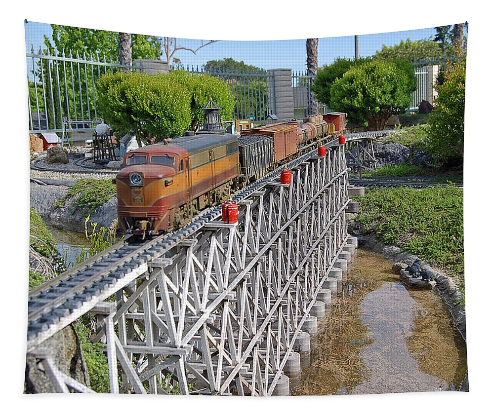 Linda Brody Tapestry featuring the photograph Freight Train Bridge Crossing by Linda Brody