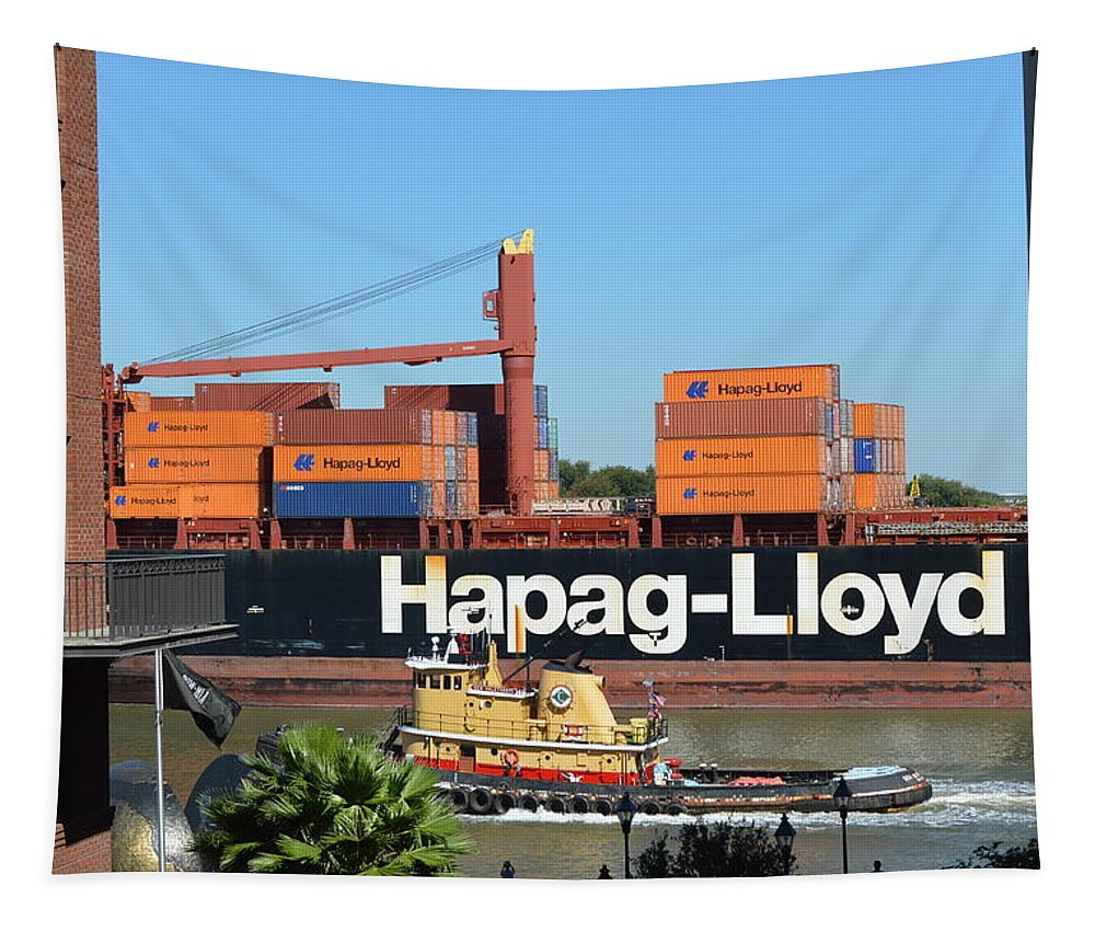 Freighter Tapestry featuring the photograph Freighter by Linda Covino