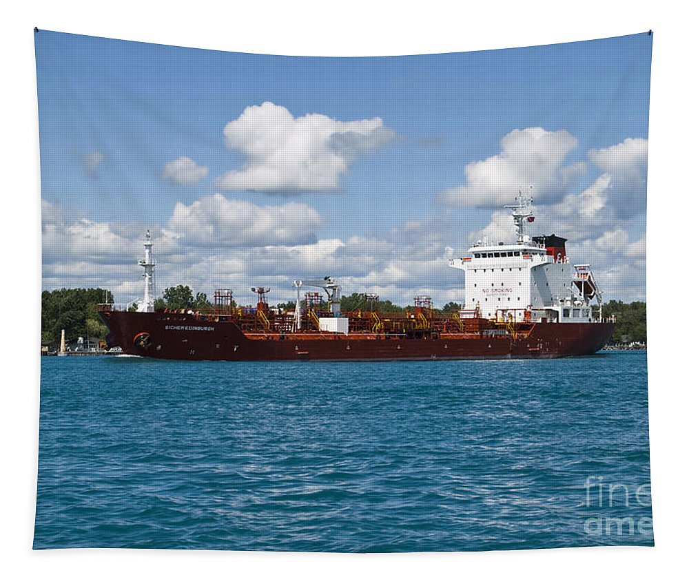 Transportation Tapestry featuring the photograph Freighter by Thomas Woolworth