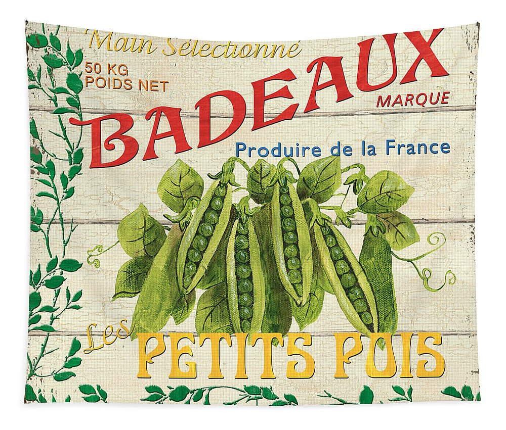 Peas Tapestry featuring the painting French Veggie Sign 1 by Debbie DeWitt