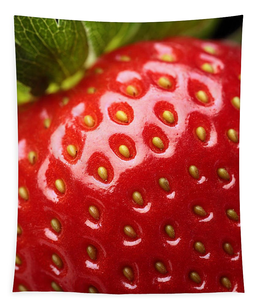 Strawberry Tapestry featuring the photograph Fresh Strawberry Close-up by Johan Swanepoel