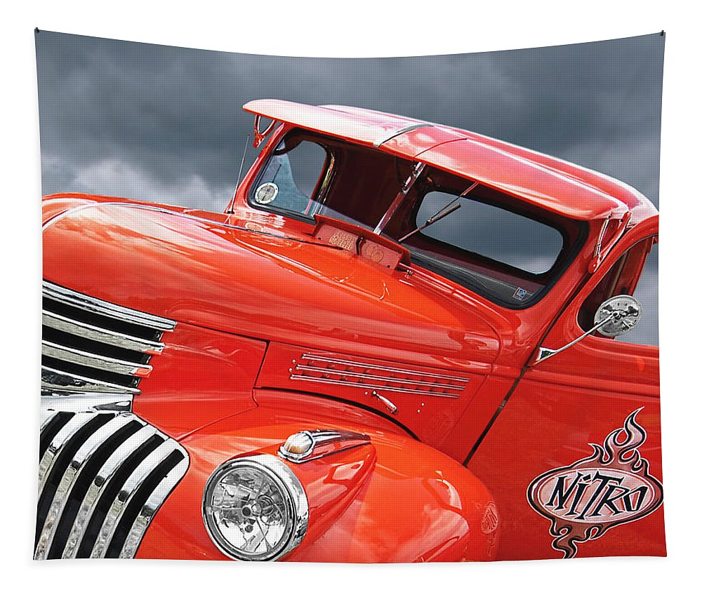 Chevrolet Truck Tapestry featuring the photograph Freshly Squeezed - 1945 Orange Chevy by Gill Billington