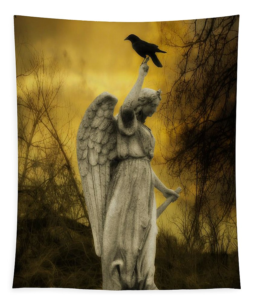 Crow On Stone Angel Tapestry featuring the photograph Friend Of An Angel by Gothicrow Images