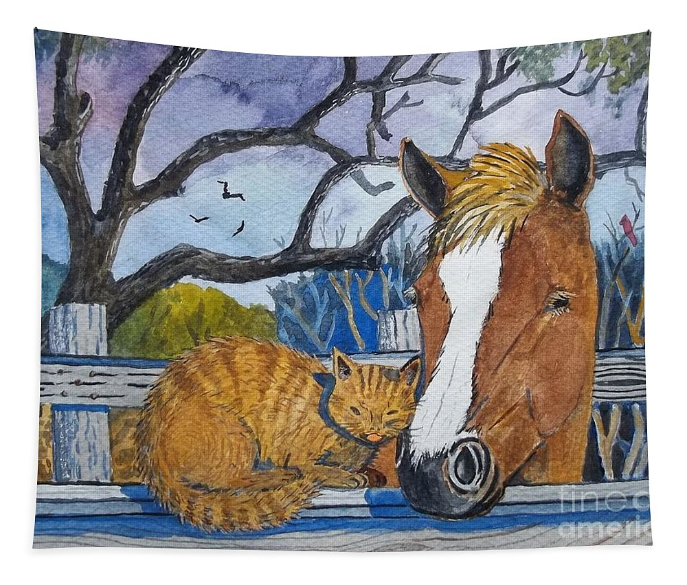 Horse Tapestry featuring the painting Friends by Don Hand
