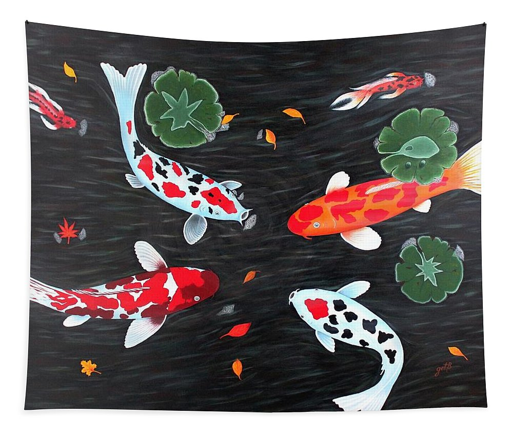 Koi Fish Tapestry featuring the painting Friendship Underwater Big Commissioned Painting by Georgeta Blanaru