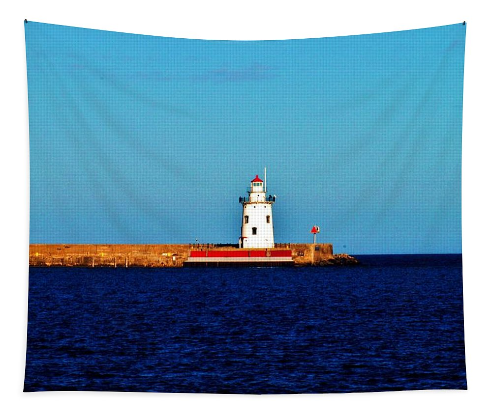 Harbor Tapestry featuring the photograph From A Distance  Harbor Beach Lighthouse by Daniel Thompson