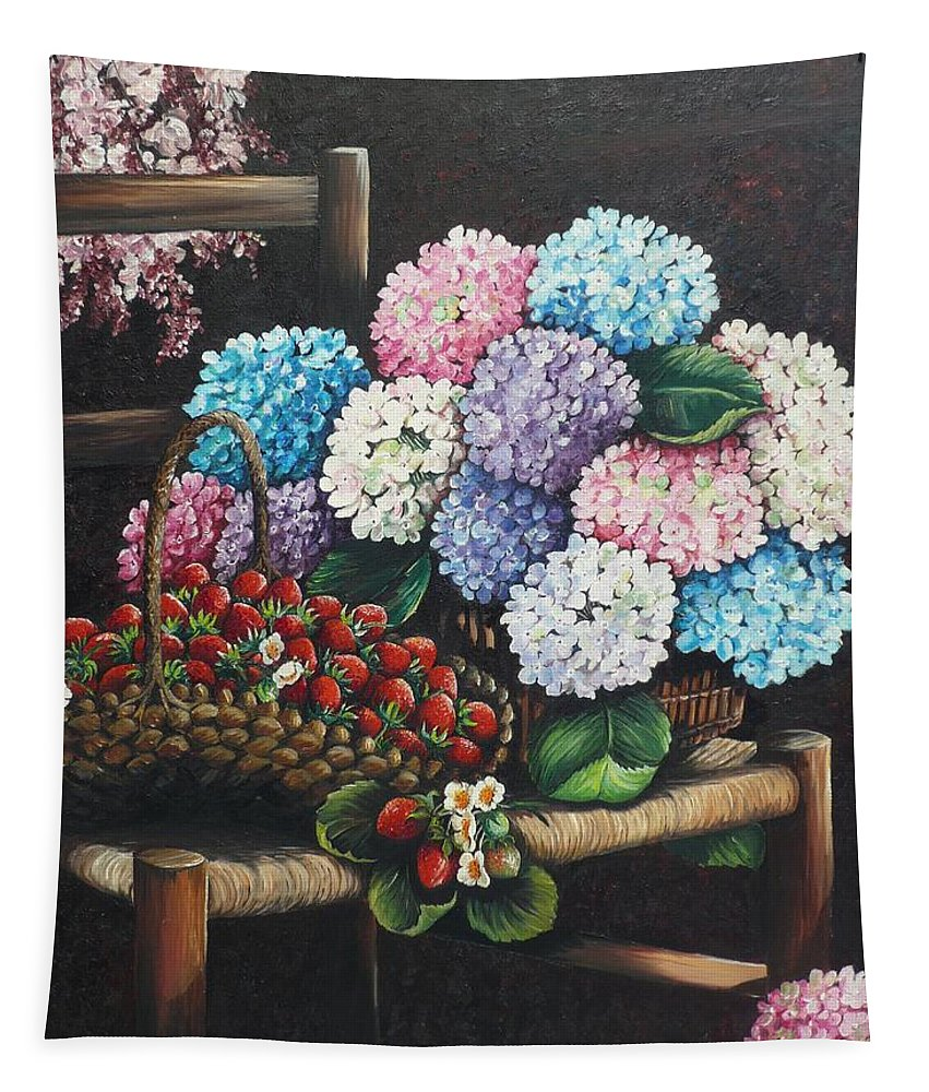 Hydrangea Paintings Floral Paintings Botanical Paintings Flower Paintings Blooms Hydrangeas Strawberries Paintings Red Paintings Basket Paintings Pink Paintings Garden Paintings  Blue Paintings  Greeting Card Paintings Canvas Paintings Poster Print Paintings  Tapestry featuring the painting From My Garden by Karin Dawn Kelshall- Best
