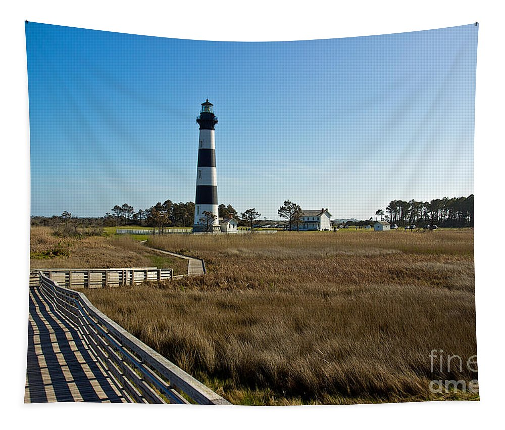 Bodie Island Lighthouse Tapestry featuring the photograph From The Waters Edge by Tom Gari Gallery-Three-Photography