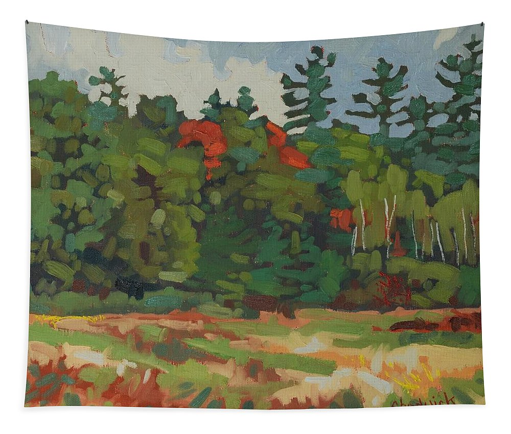Autumn Tapestry featuring the painting Front Porch View by Phil Chadwick