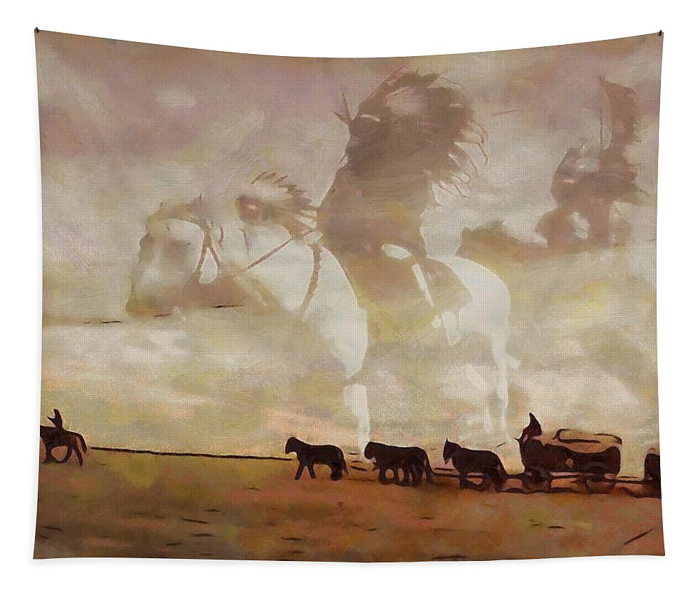 Frontier Spirit Tapestry featuring the painting Frontier Spirit by Dan Sproul