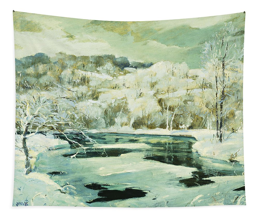 American Tapestry featuring the painting Frosted Trees by Jonas Lie